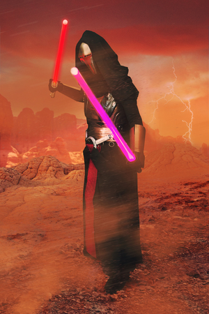 FARO, PORTUGAL - August 19, 2017: Composite of Cosplay fan in costume on a desolate planet. Editorial