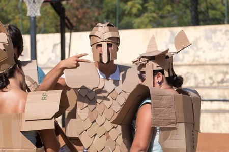 FARO, PORTUGAL - August 19, 2017: Cardboard fight game in the Manga & Comic Event. Editorial