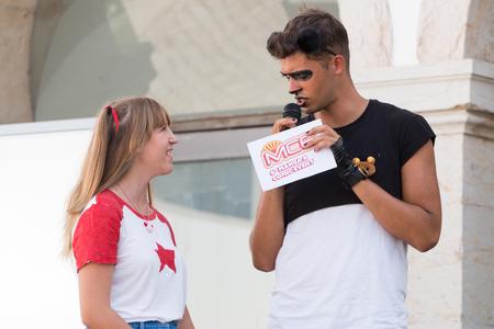 FARO, PORTUGAL - August 19, 2017: Geek nerd conversations in the Manga & Comic Event.