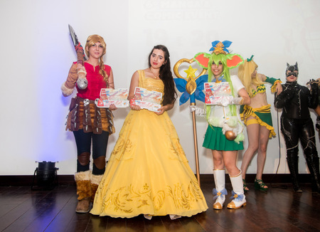 FARO, PORTUGAL - August 19, 2017: Cosplay show performer artist winners in the Manga & Comic Event.