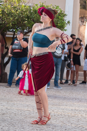 street musician: CASTRO MARIM, PORTUGAL - AUGUST 25, 2017: Medieval band performers in Medieval fair event. Editorial