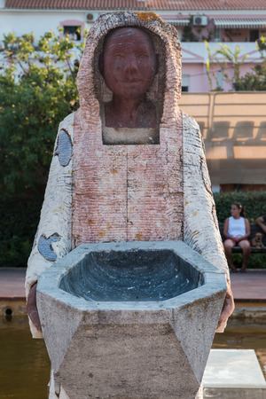 SILVES, PORTUGAL - 13th AUGUST, 2017: Sculptures and fountains in the urban park of Al-Mutamid  located in Silves, Portugal.