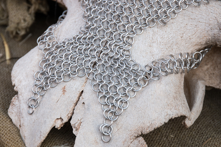 Close up view of  Medieval chain armor. Stock Photo