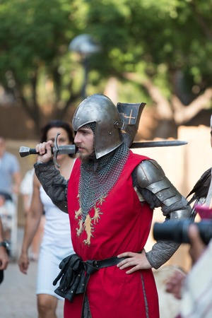 SILVES, PORTUGAL - August 13th, 2017 : medieval warrior character in Medieval fair event. Editorial