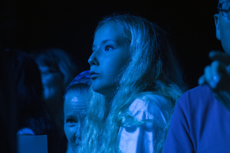 FARO, PORTUGAL: 01st SEPTEMBER, 2017 - Audience watching the music band, Rui Veloso, performing on Festival F, a big festival on the city of Faro, Portugal.