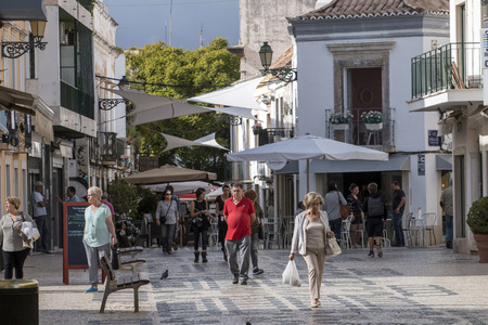 FARO, PORTUGAL - 20th october, 2017 - View of the typical beautiful street of Faro city, Portugal.