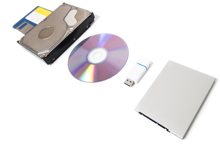 different types of storage media  isolated on a white background. Stock Photo