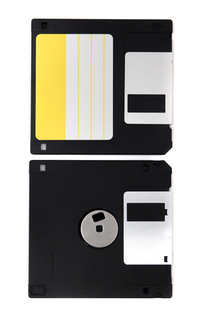 computer floppy disk, front and back view, isolated on a white background.