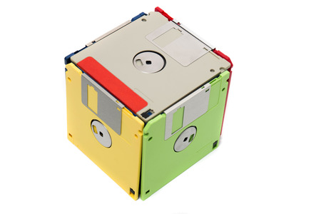 floppy disks form cube,  isolated on a white background.