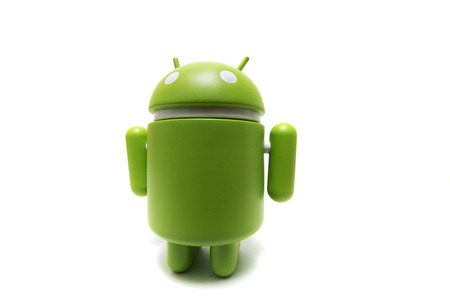 OLHAO, PORTUGAL - 6th november, 2017 - Famous Android mini collectible figure, that represents the mobile operating system developed by Google isolated on a white background. Redakční