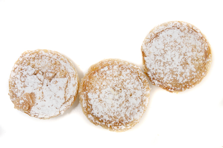 Famous Portuguese flaky Bean pastries sprinkled with white sugar powder.