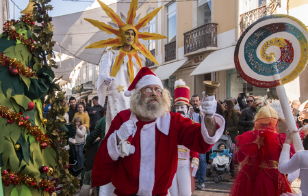 FARO, PORTUGAL - 1st DECEMBER : The arrival of Santa Claus parade in the city of faro, portugal.