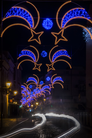 Christmas decorations in Olhao city downtown, Portugal.