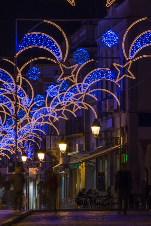 christmas decorations in olhao city downtown portugal stock photo 91622064
