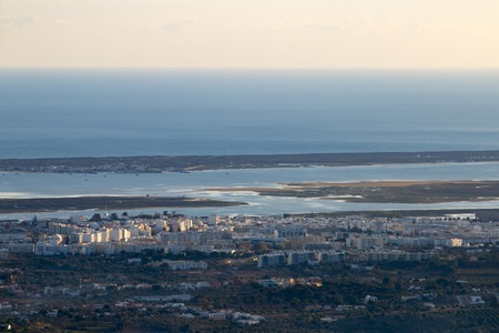 Horizon view of olhao coastline viewed from a high viewpoint.