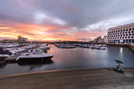 Marina with recreational boats in the city of Faro, Portugal.