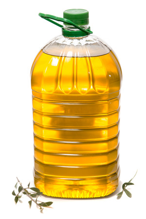 Five litre of olive oil bottle isolated on a white background. Stock Photo
