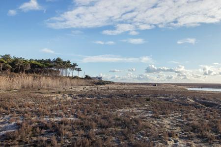 Typical low tide marshland landscape on the Algarve region, Portugal. Foto de archivo - 96773135