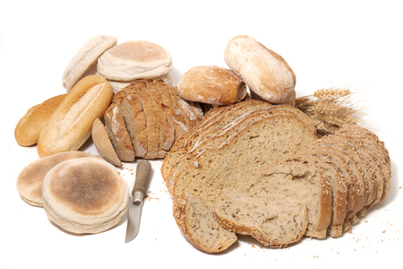 Traditional slices of grain seed bread on white background Banco de Imagens
