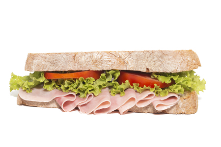 sandwich with ham over a white background.