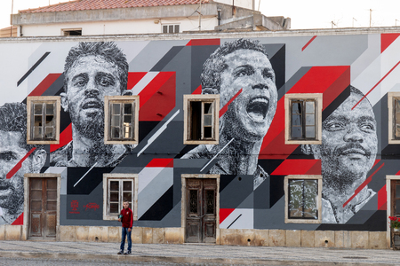 PORTIMAO, PORTUGAL: 20th MAY 2018 - Graffiti painting of several celebrities including Cristiano Ronaldo soccer player. Editorial