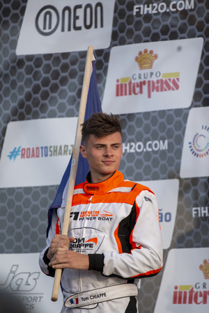PORTIMAO, PORTUGAL : 20th MAY, 2018 - Tom Chiappei 2nd place winner Portuguese Grand Prix - F4-S Powerboat racing event of the 2018 edition held on Portimao Arade river, Portugal.
