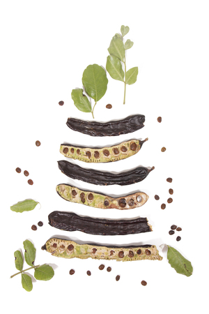 carob fruits with leafs isolated over a white background. 版權商用圖片