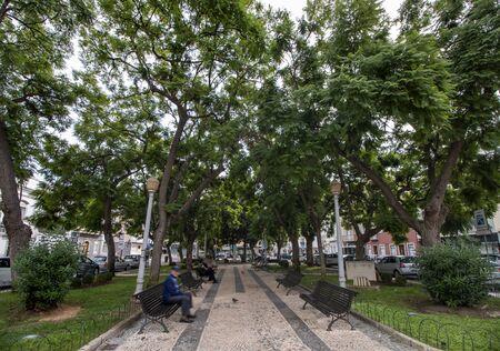 Plaza garden Alexandre Herculano located on Faro city, Portugal. Фото со стока