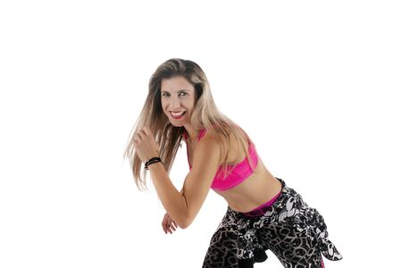 Fitness exercise girl  dance in white background. Standard-Bild - 130844124