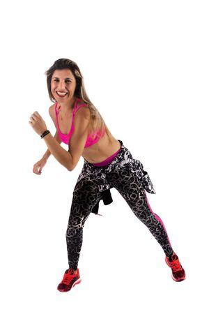 Fitness exercise girl  dance in white background. Standard-Bild - 130844131