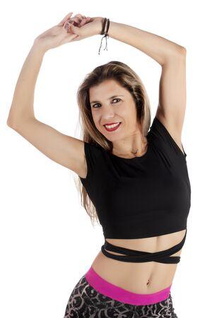 Fitness exercise girl  dance in white background. Standard-Bild - 130844398