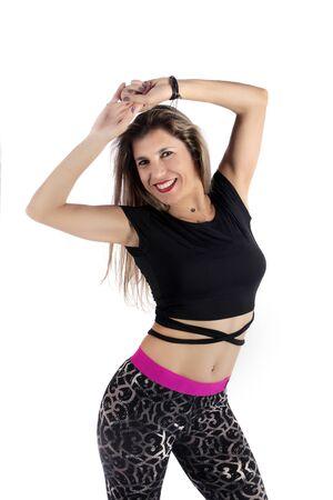 Fitness exercise girl  dance in white background. Standard-Bild - 130844395