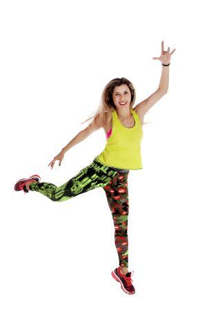 Fitness exercise girl  dance in white background. Standard-Bild - 130844397