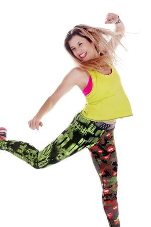 Fitness exercise girl  dance in white background. Standard-Bild - 130844406