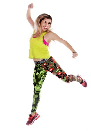 Fitness exercise girl  dance in white background. Standard-Bild - 130844404