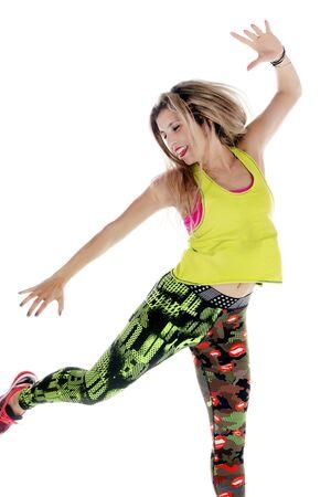 Fitness exercise girl  dance in white background. Standard-Bild - 130844424