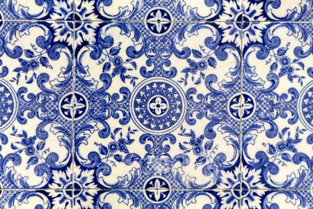 Detail of beautiful portuguese azulejo tiles. Stock Photo