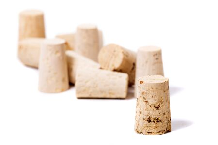 natural cork stopper isolated on a white background.