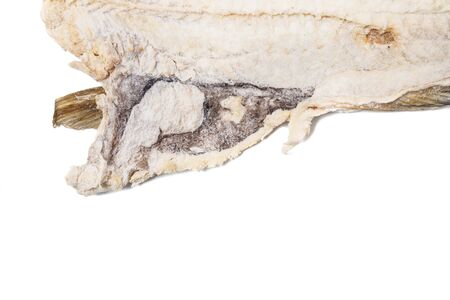 Close up view of a portuguese salted codfish isolated on white background. Archivio Fotografico