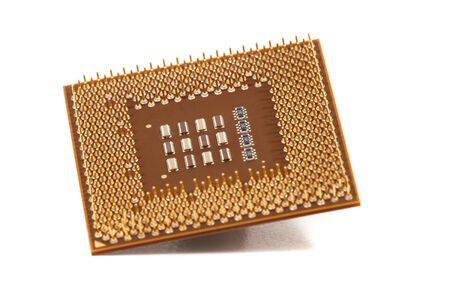 Close up view of a computer cpu (central processing unit) chip. Banque d'images