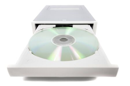 open dvd-rom isolated on a white background.