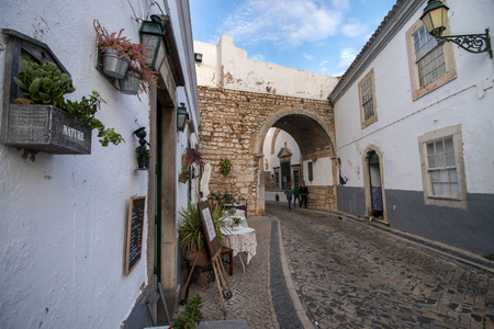 FARO, PORTUGAL: OCTOBER 20th, 2018: View of the historical street in Faro city in the downtown area, popular with tourism, Portugal.