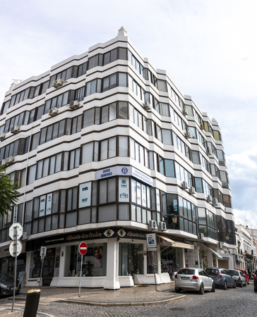 FARO, PORTUGAL: 20th OCTOBER, 2018 - reflective office building located in Faro city, Portugal.