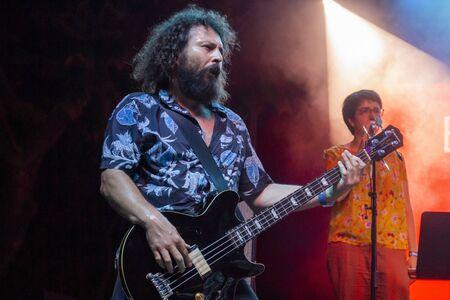 FARO, PORTUGAL: 5th SEPTEMBER, 2019 - Pop Rock band Bruno Pernadas, performs on Festival F, a big festival on the city of Faro, Portugal. Editoriali
