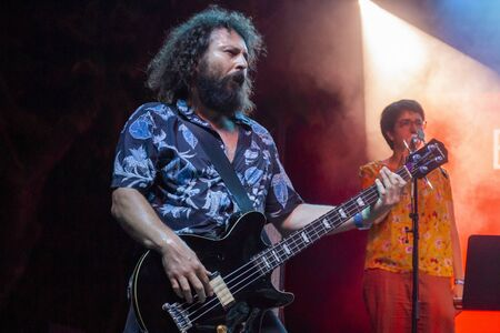 FARO, PORTUGAL: 5th SEPTEMBER, 2019 - Pop Rock band Bruno Pernadas, performs on Festival F, a big festival on the city of Faro, Portugal. 新闻类图片