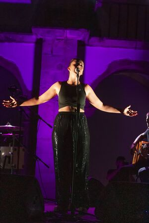 FARO, PORTUGAL: 6th SEPTEMBER, 2019 - Sara Correia singer, performs on Festival F, a big festival on the city of Faro, Portugal.