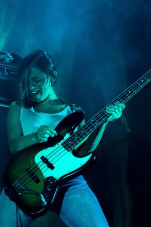 FARO, PORTUGAL: 7th SEPTEMBER, 2019 - Linda Martini heavy rock band, performs on Festival F, a big festival on the city of Faro, Portugal.