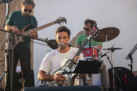 FARO, PORTUGAL: 7th SEPTEMBER, 2019 - Music band, Sangha, performs on Festival F, a big festival on the city of Faro, Portugal.