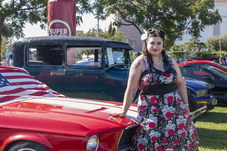 FARO, PORTUGAL, 10th August 2019: 8º American Cars Show Algarve Event with vintage cars and a mix of Americana related activities happen, including pinup shows, rockabilly concerts and much more.