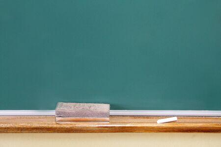 Close up view of a black chalkboard in primary school. Banco de Imagens